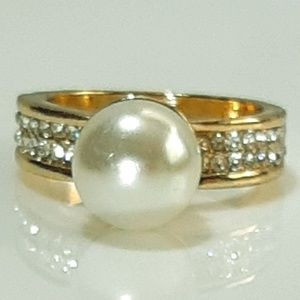 NEW Faux Pearl Wide Band Gold Ring with CZ band